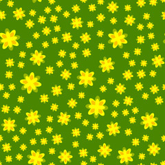 Vasant Panchami. Concept Indian religious festival. Stylized mustard flowers. Green background. Seamless pattern.