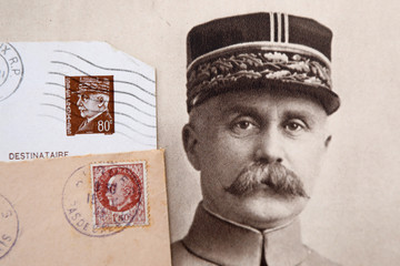 "Stamps and a portrait of French General Philippe Petain published in the French newspaper ''L'Illustration"" are seen in this picture illustration"