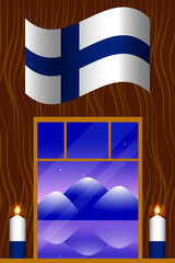 Independence Day of Finland. The concept of a national holiday. Flag of Finland. Window overlooking the mountain landscape. 2 white and blue candles.