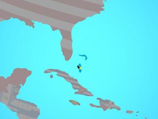 Bahamas with national flag on blue political globe.