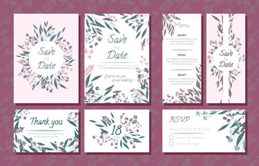 Wedding Card Templates Set with Eucalyptus Branch. Decorative Frames with Leaves, Floral and Herbs Garland. Menu, Rsvp, Label, Invitation with Nature Wreath. Vector Hand Drawn Wedding Cards Isolated.