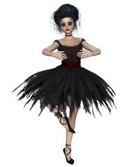 Little Gothic Ballerina in Black Tutu, Pirouette - fantasy illustration