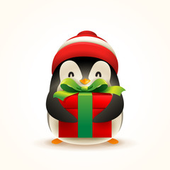 Christmas Cute Little Penguin with Santa's Cap and Gift Present.