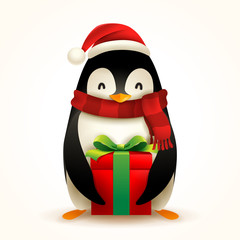 Christmas Penguin with Santa's Cap, Red Scarf and Gift Present.