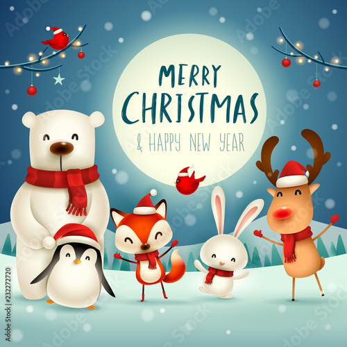Merry Christmas Animals.Merry Christmas And Happy New Year Christmas Cute Animals Character