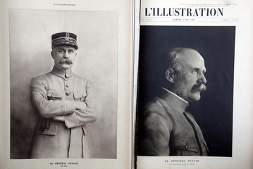 "Portraits of French General Philippe Petain published in the French newspaper ''L'Illustration"" are seen in this picture illustration"