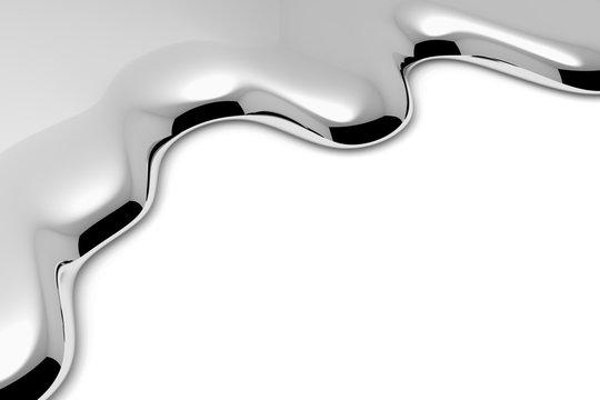 Melt metal liquid on white close-up