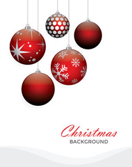 Christmas red balls vector illustration background.