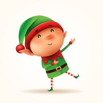 Little elf greets. Isolated.
