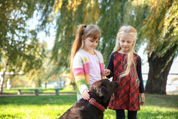 Cute little girls with dog in autumn park
