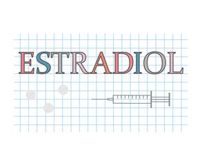 estradiol word on checkered paper sheet- vector illustration