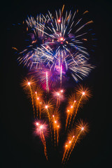 Colorful fireworks explosion on the black background