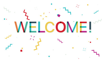 Welcome colorful banner with confetti
