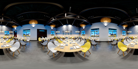 3d render of 360 degrees living room