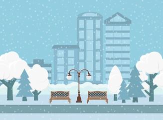 Vector illustration. Winter City Park.