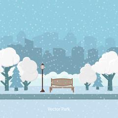Vector illustration. Snow winter park.