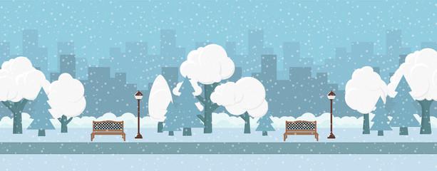 Vector illustration. Banner urban winter park.