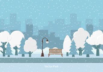 Vector background. Snow winter park.