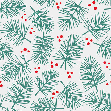Vector seamless pattern with conifers branches