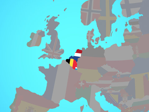 Benelux Union with national flags on blue political globe.