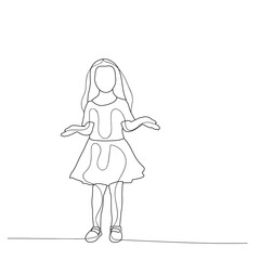 vector, isolated, sketch of simple lines girl