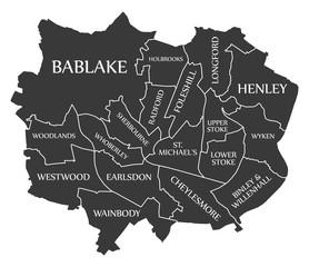 Coventry City Map England UK labelled black illustration