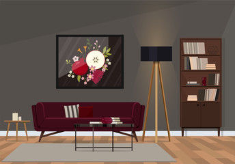 Fashionable interior design with a velvet sofa of ruby color.