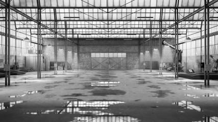 empty Hangar industrial warehouse 3d render image