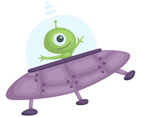 a vector of an UFO with alien inside