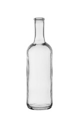 empty bottle with a narrow neck from transparent, colourless glass on a white background