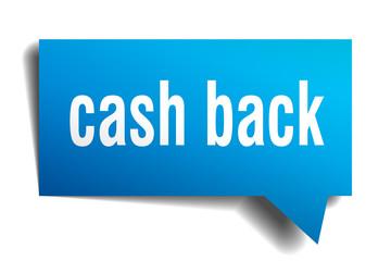 cash back blue 3d speech bubble