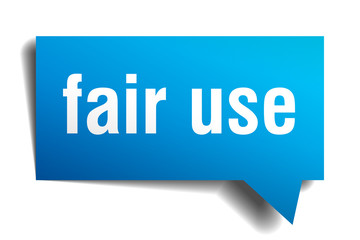 fair use blue 3d speech bubble
