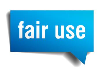 fair use blue 3d speech bubble