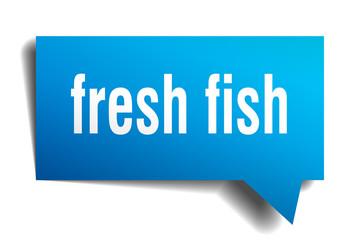 fresh fish blue 3d speech bubble