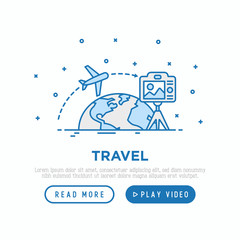 Travel blog concept: camera on tripod shoot video how plane flying around globe. Modern vector illustration, web page template.