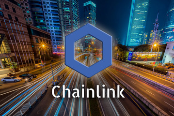 Concept of Chainlink coin moving fast on the road, a Cryptocurrency blockchain platform , Digital money
