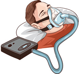 Young Man Lying On Bed With Sleeping Apnea And CPAP