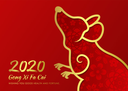 chinese new year 2020 card with abstract gold border line rat zodiac and abstract flower texture on red background vector design