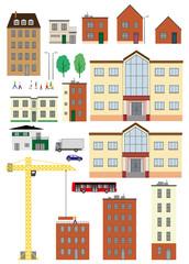 Planche maison immeuble personnages