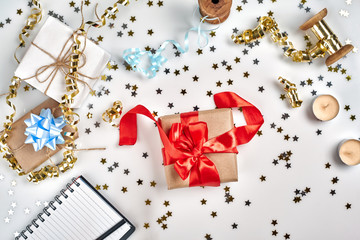 Christmas or New Year planning background in Gold Tones. Prepare to winter holidays. Top view, flat lay.