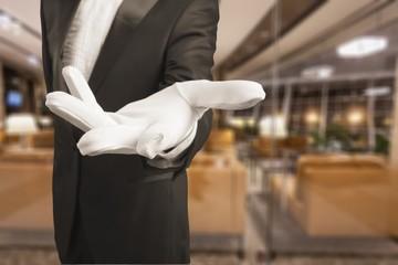 Elegant human hand in white glove
