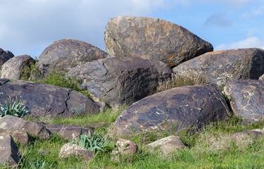 Large stones piled in the wild
