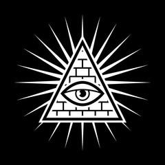 All seeing eye. Sign Masons. Black background