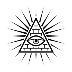 All seeing eye. Sign Masons. White background