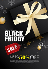 Black friday sale flyer template. Dark background with gold ribbon. Use for poster, email, newsletter, shopping, promotion, advertising.