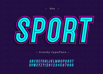 Vector bold neon sport alphabet modern typography sans serif style for t shirt, racing, game, promotion, poster, decoration, sale banner, printing on fabric. Cool font. Trendy typeface. 10 eps