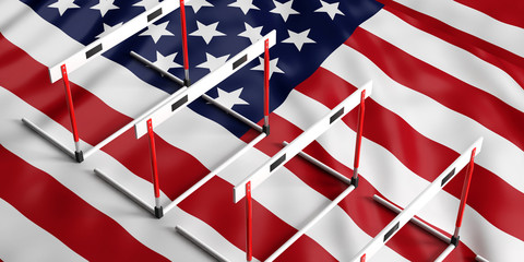Hurdles on American flag background, top view, 3d illustration.