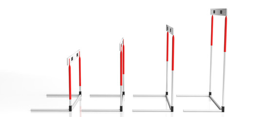 Hurdles, misc. sizes, isolated on white background, side view, banner, 3d illustration.