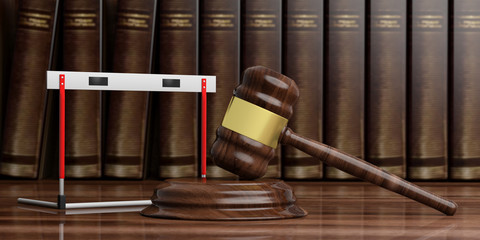 Hurdle and judge gavel against books background, 3d illustration.