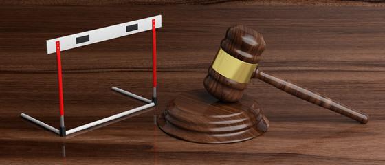 Hurdle and judge gavel against wooden background, 3d illustration.